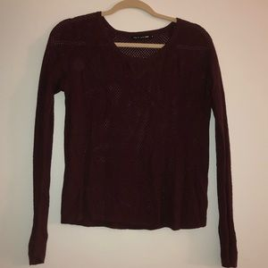 Rag and bone maroon mesh sweater